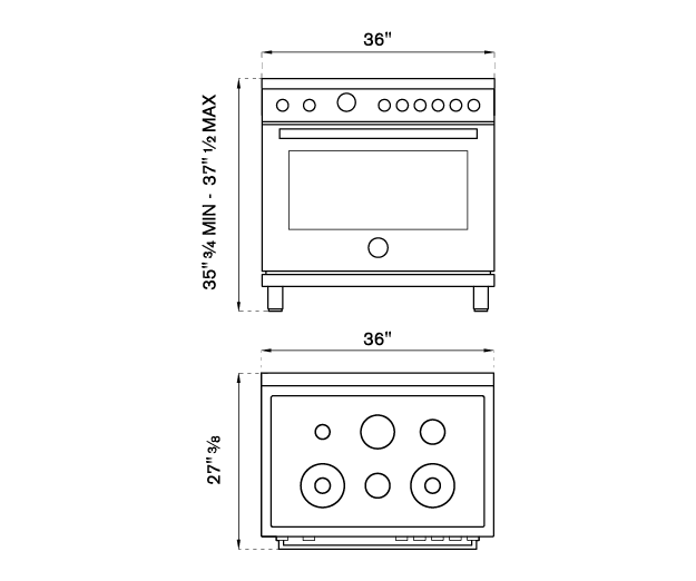 36 inch Dual Fuel Range, 6 Brass Burner, Electric Self-Clean Oven | Bertazzoni